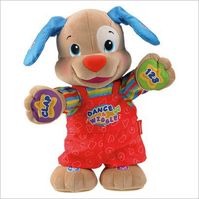 Fisher Price Laugh N Learn Dance N Play Puppy Price: $29.99 This plush, cute puppie will definitely give you that cute 'awww' moment for the season. The toys laughs and dances while teaching letters and numbers.