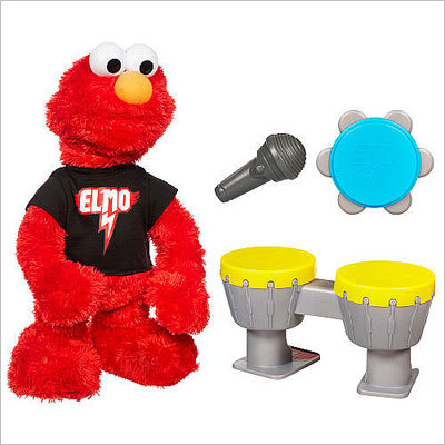 Sesame Street Let's Rock Elmo Price: $59.99 Rocking a concert T-shirt, this Elmo toy sings six songs and plays music with you. He comes with his own microphone, tambourine, and drum set.