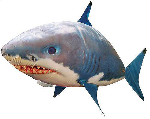 Air Swimmer Remote Control Inflatable Flying Shark Price: $26.95 Air shark! This helium-filled fish can be controlled to move around the room by a remote control. How cool is that?
