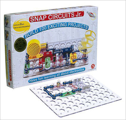 Snap Circuits Junior Price: $21.25 This toy comes with 30 color-coded circuits to teach how electronics really work. Recommended for children older than 8 years old.