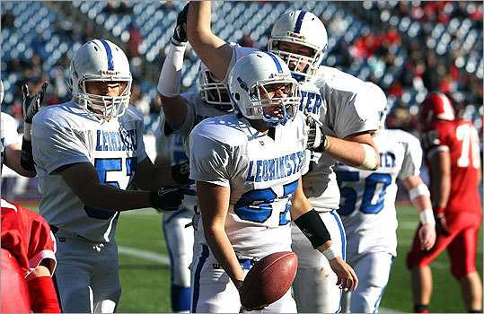 Central Mass. Div. 1: Leominster 21, St. John's 6 Leominster celebrates a second-quarter touchdown by Daniel Curley. The four-yard score came on a fourth-and-goal with six seconds left in the first half.