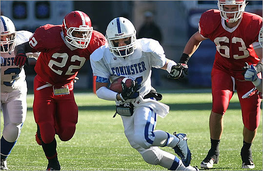 Central Mass. Div. 1: Leominster 21, St. John's 6 Leominster's Andy Escuadaro ran for a long first quarter gain.