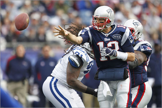 Brady and the Patriots took a while to get untracked. They managed only three points in the first quarter.