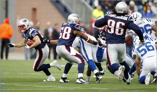 Julian Edelman had plenty of blocking as he returned a punt in the second quarter.