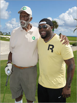Celtics legend Bill Russell was among those who joined Ortiz at the golf outing.