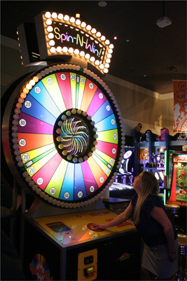 Spin N' Win is one of the most popular of D&B's games. Out of the 150 games in the game room, Supertrivia and Giant (the Claw) are also popular. The Braintree chain additionally boasts two newer games, a life size Connect Four as well as four-player Pac-Man.