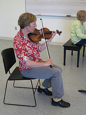 The South Shore Conservatory was created when it branched off from the New England Conservatory in the 1960s. At left, Paula Tyack takes a violin lesson.