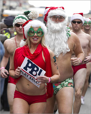Runners wore everything from beards and sunglasses, to flower-printed Speedos and bikini bottoms.