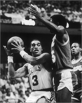 Dennis Johnson The former Celtics point guard won two NBA championships with Boston and was known for his excellent defense. Johnson, known as DJ, was posthumously inducted into the Basketball Hall of Fame in 2010. Johnson lived in Lexington while playing for the Celtics. Larry Bird <a href='http://articles.boston.com/2007-02-25/sports/29231688_1_dj-mvp-honor-defense '>declared DJ to be &#147;the best player I ever played with.' Dennis Johnson is pictured in a 1987 Celtics game.