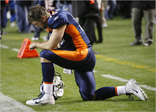 The Patriots' next game is against the Denver Broncos and quarterbacking sensation Tim Tebow, whose knack for comebacks and late-game heroics is surpassed only by the popularity of his signature move: dropping to one knee in prayer. 'Tebowing' has become an international phenomenon, and his fellow elite athletes have been seen doing it either in games or around the globe. Take a look at some sports stars who have emulated the Broncos' rookie, or, if you've Tebowed yourself, share your own Tebowing photos with other readers here.