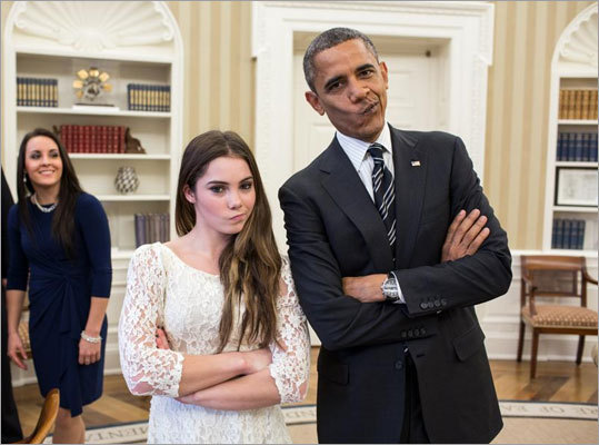 Not impressed Gold medalist Gabby Douglas may have captured the hearts of Americans, but McKayla Maroney won the Internet over with her 'not impressed' look from this year's Olympics. When the Fab Five gymnastics team met with the president on Nov. 16, she re-created the pose with him.