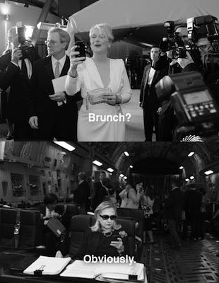 Texts from Hillary A photo of Hillary Clinton from 2011 was revitalized this year through the Tumblr Texts from Hillary . Now, Hillary answers texts from other politicians and celebrities, like Meryl Streep.