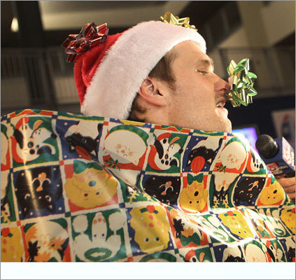 "Dec. 13 in Foxborough The highlight of the event is ""Wrap-A-Pat,"" a game in which children, working in teams, race to wrap Patriots players in Christmas wrapping paper, bows and ribbons. That included Brady."
