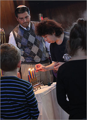 The candles are then lit from left to right during Hanukkah.