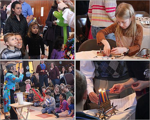 Families enjoyed a Hanukkah celebration on Sunday afternoon at Temple Shalom in Medford. The event was a prelude to the Jewish festival of lights, which begins Tuesday evening and runs for eight nights until Dec. 28.