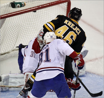 David Krejci scored his sixth goal of the season in the second period of the Bruins' game vs. the Canadiens at TD Garden. Krejci's goal, which had to be reviewed to ensure it was not kicked into the net, gave the Bruins a 2-1 lead. They went on to a 3-2 victory.