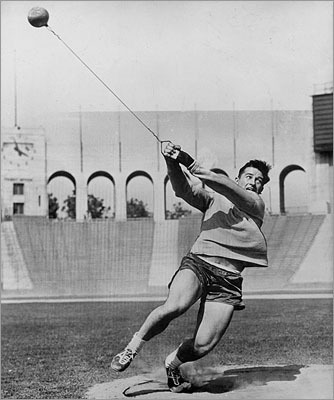Hal Connolly The Somerville native overcame a withered left arm to win the hammer throw in the 1956 Olympics and then married the women's discus champion, Olga Fikotova of Czechoslovakia. Their romance went against the sentiment of the Cold War. Connolly's left arm was injured during birth and he fractured it several times as a child. He went to Boston College.