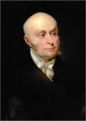 John Quincy Adams As the son of the second president of the United States, Adams was groomed for the life of a statesman. John Quincy accompanied his father overseas to France and the Netherlands to help secure funds for the Revolutionary War. Adams served as a diplomat and secretary of state (he helped bring Florida to the Union from Spain) before being elected the sixth president of the United States. He swore his inauguration oath on a book of US laws instead of a customary bible to emphasize the separation of church and state.