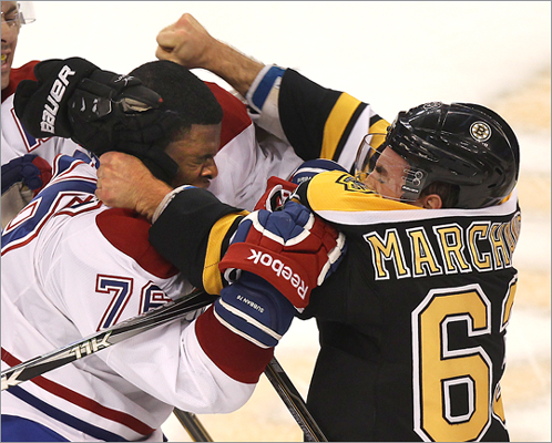 P.K. Subban, Canadiens The Canadiens are the Bruins' most hated rivals. Subban, a defenseman for Montreal, is a major pest to the Bruins, especially left wing Brad Marchand. The duo has dropped the gloves multiple times.