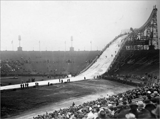 A ski jump was set up at Soldier Field in Chicago in this photo taken Feb. 12, 1938. Snow for the meet was imported from Upper Michigan to cover the slide.
