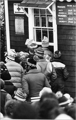 Skiers waited in line at Blue Hills in Milton on Jan. 6, 1970, in order to fork over $5.50 for an all-day lift ticket.