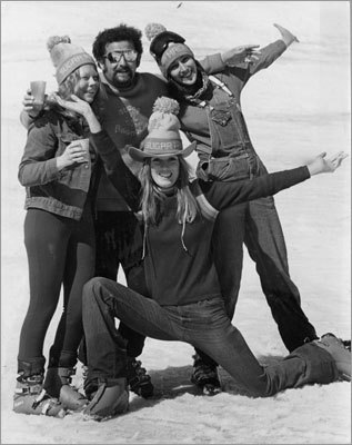 Members of the Sugar Magnolia Ski Bum Racing Team posed at Stowe, Vt., in 1977.