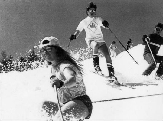 Skiers took advantage of warm weather at Waterville Valley, N.H., in 1986.