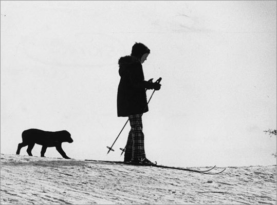 A child and best friend learned to play on snow at the Wellesley Golf Course on Jan. 5, 1974.