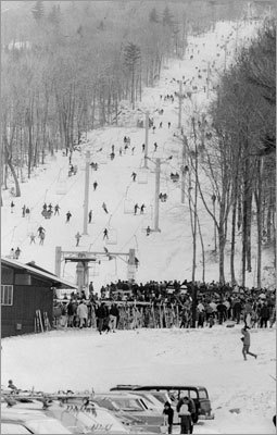 A crowded scene at Killington Mountain's Snowshed Lodge on Nov. 21, 1965.