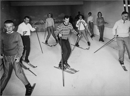 In 1961, Jack McTarnaghan, chief instructor of 'Ski-Dek' led a class through the 'newest recreation' of indoor skiing by teaching fundamentals such as snowplow and parallel turn. Ski-Dek supposedly duplicated the feeling of skiing on a snow-covered slope.
