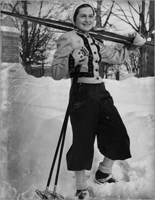 Skiing champion Madame Maria Singer taught students from Mt. Holyoke College at Mt. Tom in 1938.