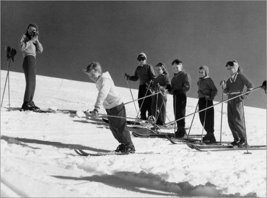 A ski school class at an undisclosed location in 1965.