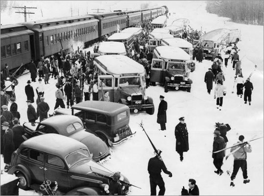 More than 600 New Yorkers arrived in Pittsfield aboard the 'Snow Clipper' in 1932.