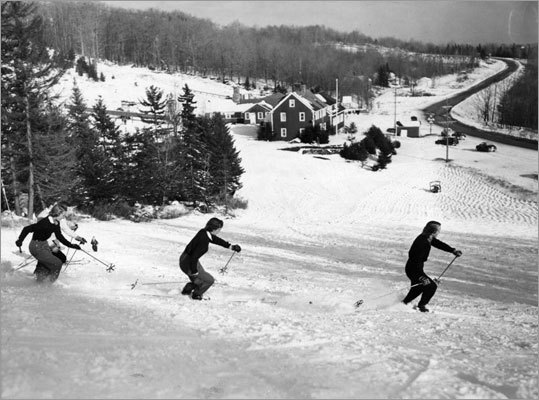 Skiers swirled down the Lord's Prayer at Bromley Mountain in Manchester, Vt., on Nov. 30, 1951. It was the earliest skiing in Bromley's history following a 9-inch storm earlier in the week.