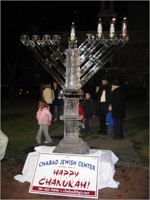 In 2006, the Chabad Center presented a menorah carefully carved out of ice.