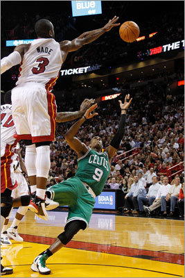 Wade rejected a shot attempt by Celtics point guard Rajon Rondo.
