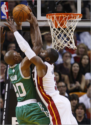 Celtics guard Ray Allen rose above Wade for a shot in the first half.