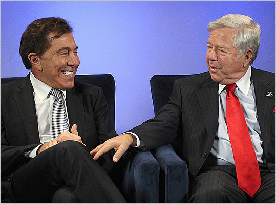 """Steve Wynn, Las Vegas casino developer, and Robert Kraft, New England Patriots owner Wynn (left) and Kraft want to build a resort casino on land across from the Pats' Gillette Stadium in Foxborough, but selectmen voted 3-2 not to even hear what they're proposing. Kraft emphasized Dec. 5 that he will drop the proposal if he and Wynn are unable to resolve concerns of residents. """"If we can't solve them, then we shouldn't do this deal,'' he said. """"We'll walk away, because both of us have plenty to do.''"""