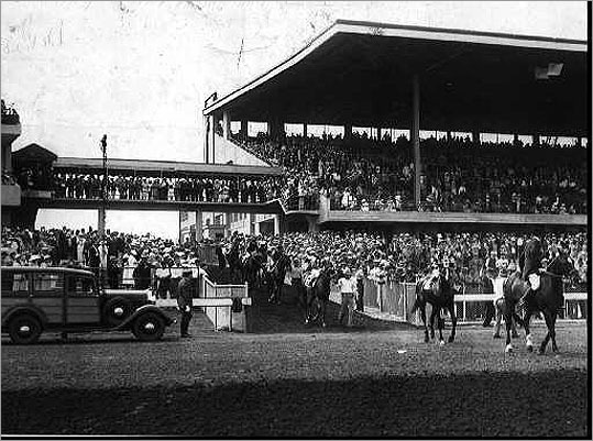 Steeped in history, Suffolk Downs has been welcoming guests since its opening in 1935 and once hosted 25,000 people a day. Pictured is the Suffolk Downs race track in 1935.