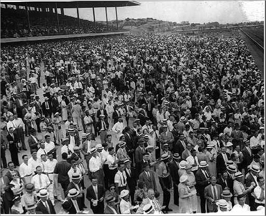 1935 Crowd at Suffolk Downs race track in 1935. During the track's rich history, superstars such as Seabiscuit, Whirlaway and Cigar graced Suffolk Downs.