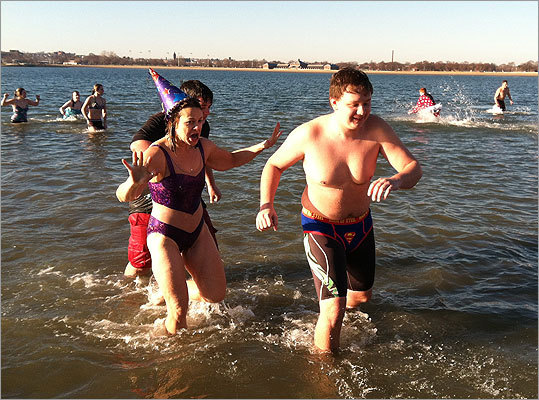 Hundreds of swimmers plunged into the frigid waters of Boston Harbor today during the annual New Year's Day polar bear plunge. Read more.