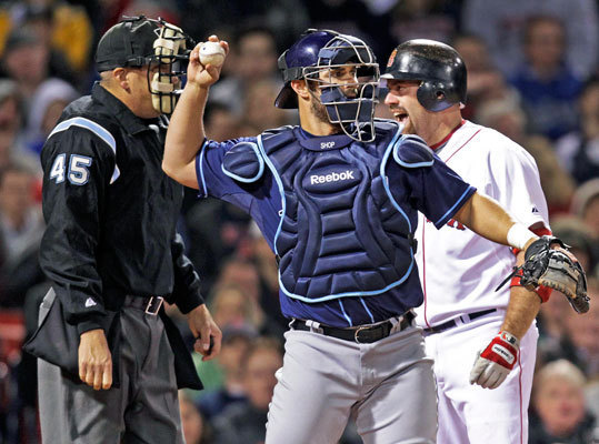 Shoppach returns to Boston to back up Salty Drafted by the Red Sox in 2001, Shoppach will return to Boston this season after playing the last six years with the Rays and Indians. Shoppach, who hits southpaws better than righthanders, is slotted to spell Jarrod Saltalamacchia, who is better against righthanders. Signing Shoppach likely means the end for Jason Varitek's playing days in Boston. 'We know Shop well,' Cherington said, noting that defense was one of the team's needs. 'We felt like in a perfect world, we would look to solidify the catching position by adding strengths.'