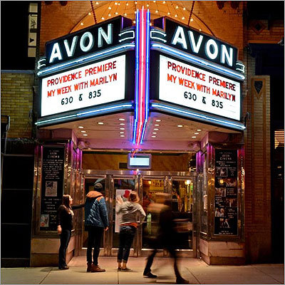 The Art Deco Avon Cinema, in the Brown University section of town, shows independent and European films at $9.50 a ticket. Now playing at the 260 Thayer Street establishment is 'The Artist,' with 'The Best Exotic Marigold Hotel' coming next. Read: Bright nights under city lights