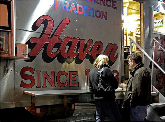 Haven Brothers Diner, an eatery on wheels found on Fulton Street next to City Hall from 4:30 p.m. to 5 a.m., is the place to go for a late-night burger, hot dog, or shake - and former Providence natives Meredith Vieira and Matt Lauer swear by it. Read: Bright nights under city lights