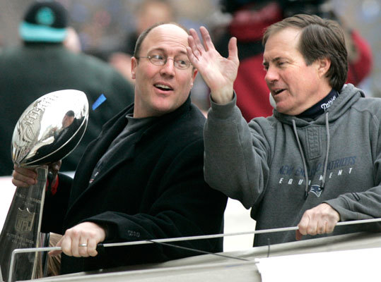 Scott Pioli The former vice president of player personnel (left, with coach Bill Belichick), who won two executive of the year awards during his time in New England, left in 2009 to become the Kansas City Chiefs' general manager. 'To sum up in words everything Scott Pioli has meant to this organization and to me personally would be difficult,' Belichick said in a statement at the time. Pioli fired head coach Todd Haley after a 5-8 start this season and is currently interviewing coaching candidates.