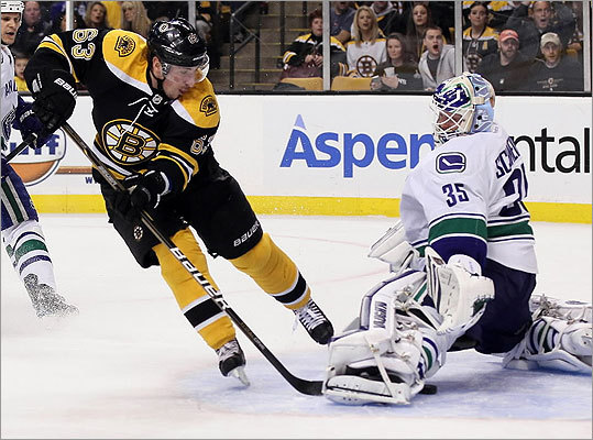 Brad Marchand scored in the first period on Canucks goalie Cory Schneider.