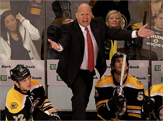 Bruins head coach Claude Julien voiced his displeasure at a call during the second period.