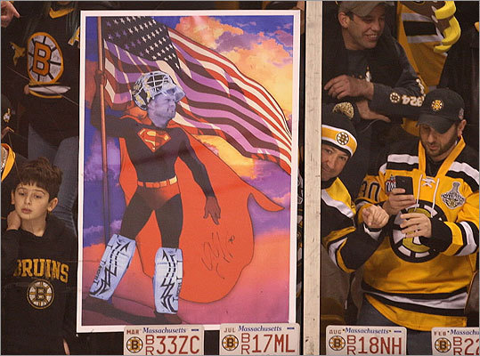 Bruins goalie Tim Thomas was immortalized as a super hero by one Boston fan before the first puck drop.