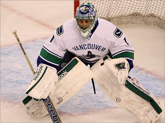 Canucks goalie Roberto Luongo took his turn between the pipes during pre-game warm ups but did not start for Vancouver.