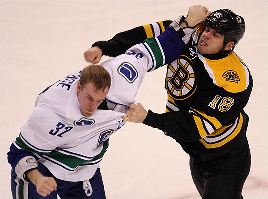The Bruins (26-10-1) and Canucks (25-13-3) squared off Saturday in a Stanley Cup Final rematch. Both teams came into the game, their only regular season match-up this season, at the top of their respective conferences thanks to recent surges. Both teams scuffled often in the first period. Nathan Horton and Canucks right winger Dale Weise mixed it up early.